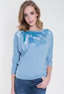Голубая трикотажная блузка с длинным рукавом Zaps Cabras