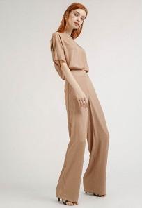 Расклешенные брюки бежевого цвета Emka D145/andrea