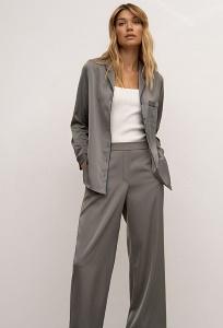 Серые атласные брюки в пижамном стиле Emka D210/still