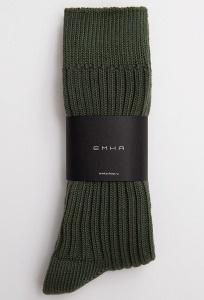 Высокие носки в рубчик в оттенке хаки Emka V002/nizar