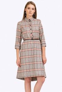 Бежево-коричневое платье-рубашка в клетку Emka PL858/neva