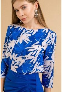 Синяя блузка с принтом Emka B2468/lyudmila