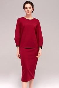 Красная юбка из прибалтийского трикотажа TopDesign B7 129