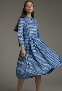 Синее платье в клетку Emka PL984/yor