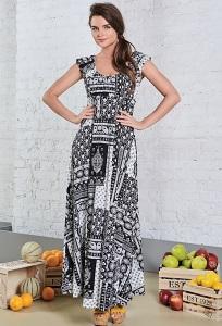 Длинное чёрно-белое трикотажное платье TopDesign A8 090