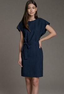 Тёмно-синее платье в полоску Emka PL1058/rubens