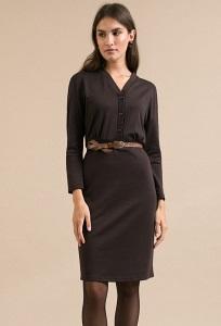 Приталенное коричневое платье из трикотажа Emka PL949/agika