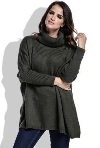 Теплый свитер с высоким воротом оливкового цвета Fimfi I217