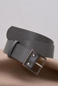 Широкий ремень из экокожи серого цвета Emka F003/silora