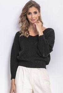 Чёрный свитер с v-образным вырезом Fobya F765