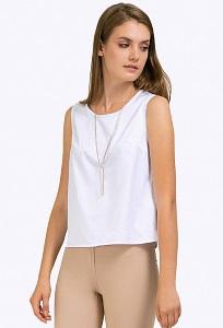 Белая блузка из хлопка без рукавов Emka B2284/delya