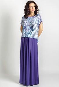 Длинная летняя юбка из трикотажа TopDesign A6 065