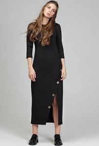 Длинное чёрное платье из плотного трикотажа Donna Saggia DSP-287-4t
