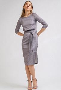 Летнее платье-миди серого оттенка Emka PL869/amori