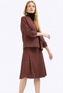 Бордовая юбка-миди в форме трапеции Emka S791/odessa