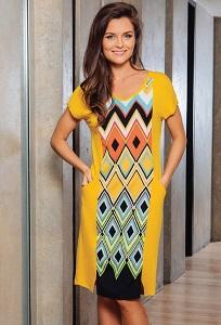 Летнее платье жёлтого цвета TopDesign A7 128