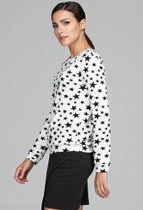 Белый женский свитшот с чёрными звёздами Donna Saggia DSB-50-2t