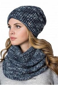 Комплект шапка + снуд синего цвета Kamea Morelino