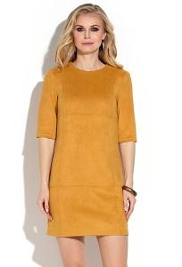 Горчичное платье из искусственной замши Donna Saggia DSP-244-5t
