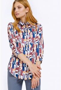 Женская рубашка с абстрактным принтом Emka B2198/rosebud