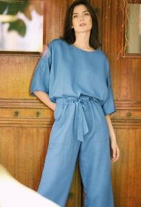 Шикарные брюки-кюлоты синего цвета Emka D172/parrot