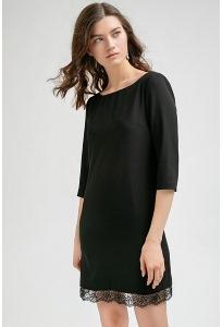 Платье черного цвета с кружевом по низу Emka PL732/blackberry