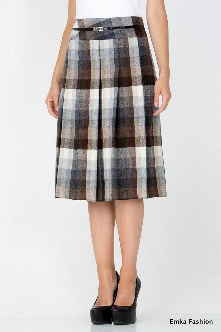 948569f79 Шерстяная юбка в клетку Emka Fashion 219-70/ilona - купить юбку в ...