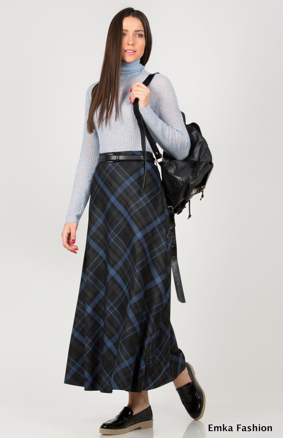 4b33c8508 Макси-юбка в клетку Emka Fashion 314-sogdiana - Malinka-fashion.ru
