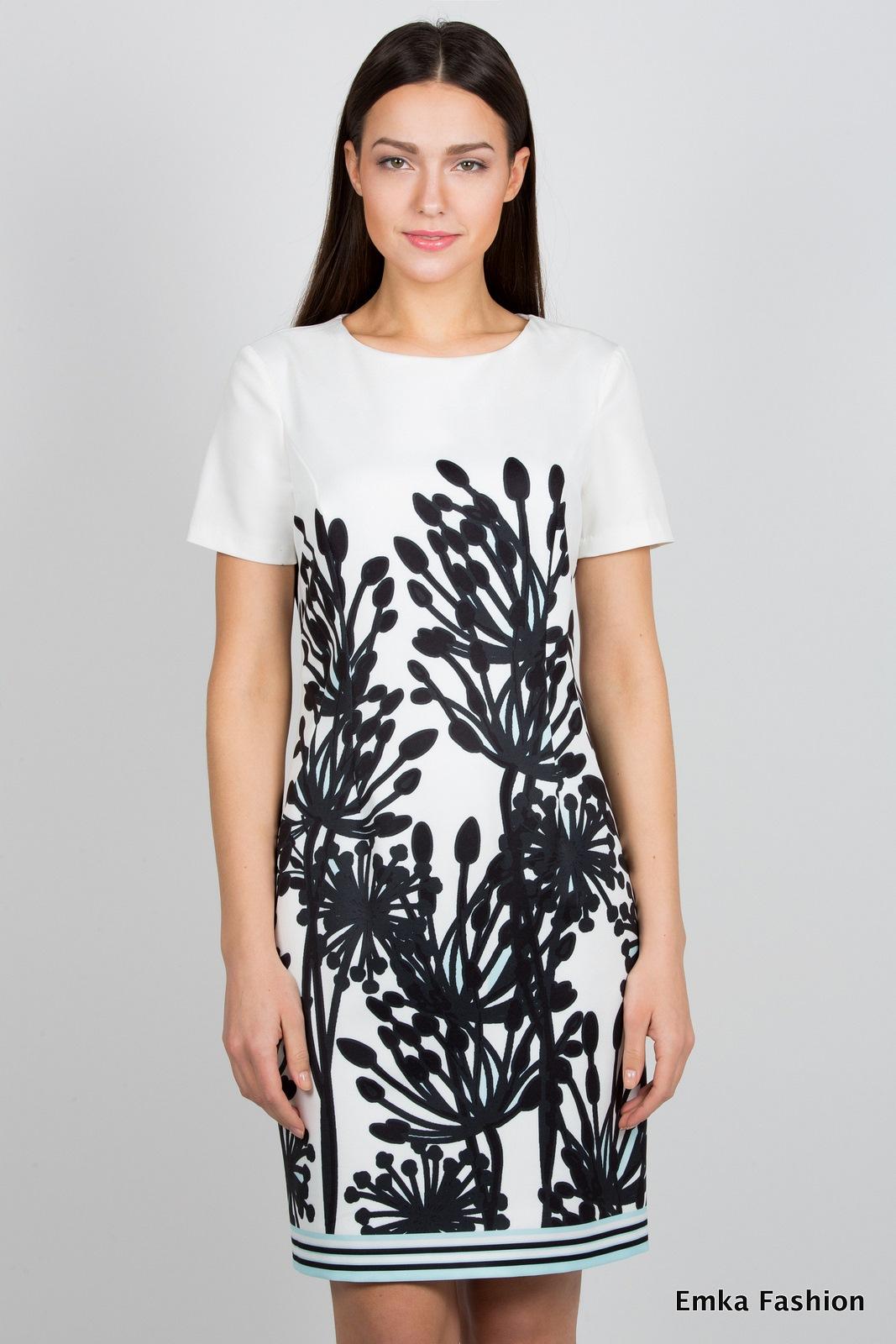 77153df9e55 Бело-чёрное платье Emka Fashion PL-419 zoryana - Malinka-fashion.ru