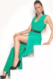 Длинное платье нефритового цвета | DSP-90-50t
