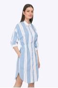Платье в бело-голубую полоску рубашечного кроя Emka PL815/pure