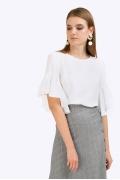 Белая летняя блузка из легкой ткани Emka B2389/jessica