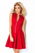 Красное платье с молнией спереди Numoco 123-11