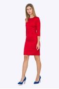 Красное приталенное платье с рукавом три четверти Emka PL746/claret