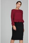 Блузка вишневого цвета с воланами Donna Saggia DSB-46-67