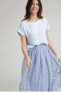 Блузка голубого цвета в полоску Emka B2410/peri