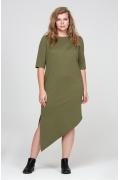 Асимметричное платье цвета хаки Saggia DSPB-21-59t