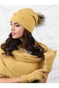Женская шапка с помпоном горчичного цвета Kamea Forli