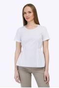 Белая блузка с короткими рукавами и баской Emka B2273/vonda