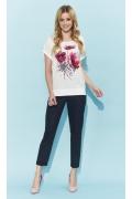 Летняя блузка кремового цвета с цветочным принтом Zaps Melita