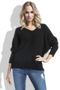 Женский свитер чёрного цвета с V-вырезом Fimfi I226