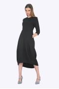 Чёрное платье миди с асимметричным низом Emka PL661/hardie