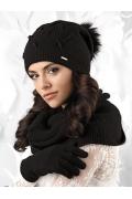 Чёрная женская шапка с помпоном Kamea Forli