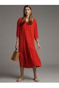 Длинное платье А-силуэта с воланом Emka PL1028/sydney