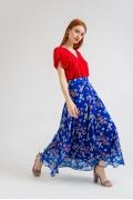 Длинная шифоновая юбка синего цвета Emka S711/djerri