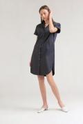 Платье темно-синего цвета на пуговицах Emka PL770/misty