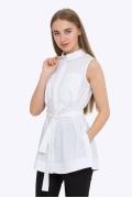 Удлиненная белая блузка на поясе Emka b 2220/vonda