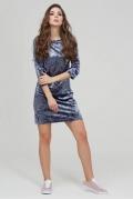 Женское платье из голубого бархата Donna Saggia DSP-312-99t