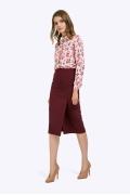 Бордовая юбка-миди на широкой кокетке Emka S779/tanzana