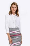 Белая блузка с воротником аскот Emka B2366/lotos
